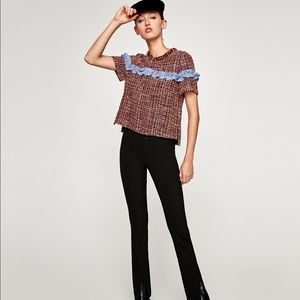 ZARA Tweed Top With Contrasting Ruffle